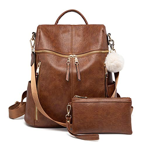 Backpack Purse for Women, Large Designer Fashion Leather Multiple Pockets Shoulder Bag for Weekend Travel and Daily Style
