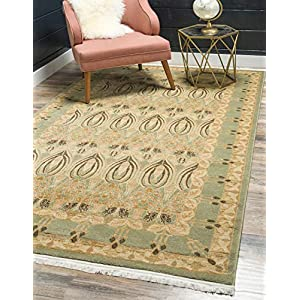 Unique Loom Edinburgh Collection Oriental Traditional French Country Light Green Area Rug (5′ 0 x 8′ 0)