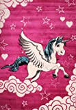 Kinderzimmer Teppich für Kinder Das Kleine Einhorn Pink Creme Türkis, Grösse:80x150 cm - 4