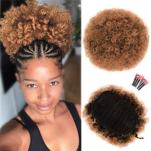 Afro Puff Drawstring Ponytail Extension for Black Women, Premium Ombre Brown T1B/30# 80gram Short Synthetic Afro Puff Ponytail for Natural Hair, Clip On Kinky Drawstring Curly Ponytail Bun