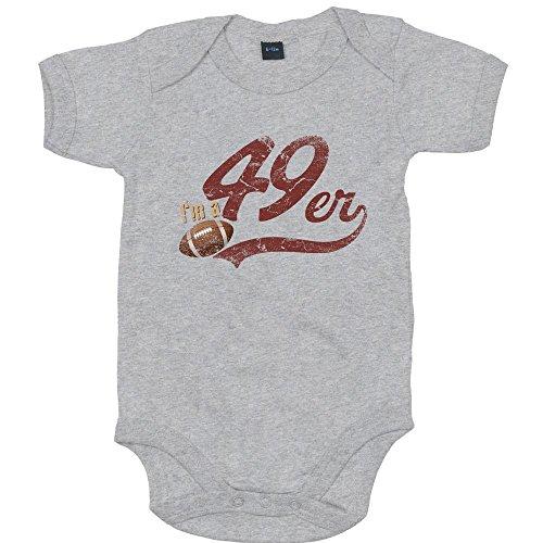 I'm a 49er Premium Babybody American Football Super Bowl San Francisco Mädchen und Jungen Kurzarmbody, Farbe:Grau-Meliert (Heather Grey Melange BZ10);Größe:3-6 Monate