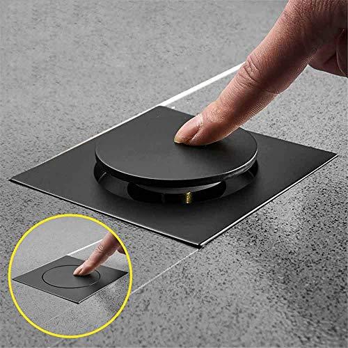 Pop Up Fußbodenablauf Messing Verchromte Badewanne Druck nach unten Desodorierungstyp Quadratischer moderner Bodenbelagstopfen 10X10cm, Schwarz