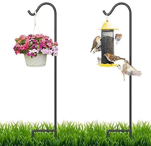 Shepherd Hook, 65-inch Shepherds Hook for Bird Feeders for Outside, Adjustable Bird Feeder Pole, Heavy Duty Garden Hanging Stake for Bird Feeder Solar Light Lanterns Plant Hanger Wedding Decor(2 Pack)