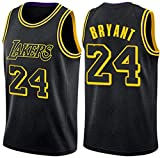 Lakers Jersey # 24#8 Kobe Bryant Retro Baloncesto Verano Jersey Ropa Deportiva sin Mangas (negro24, L)