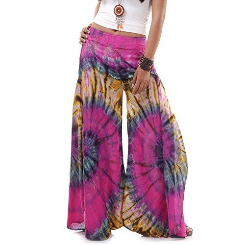 Princess of Asia Extrem Weite Damen Hippie Ethno Goa Thai Hose Schlaghose 36 38 40 S M (Pink)