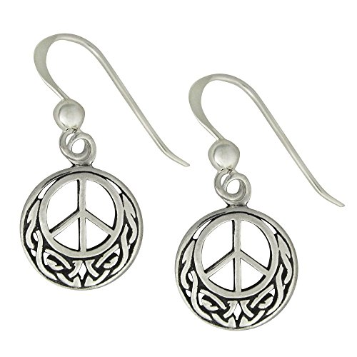 Sterling Silver Peace Earrings with Celtic Knotwork