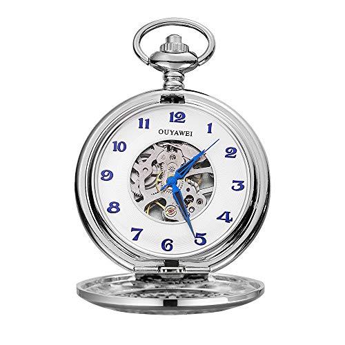 Lwieui Reloj de Bolsillo Mecánica de Doble Cubierta, números Romanos, Esqueleto, Relojes de Bolsillo automáticos y Cadena (Color : Silver Shell White Surface)
