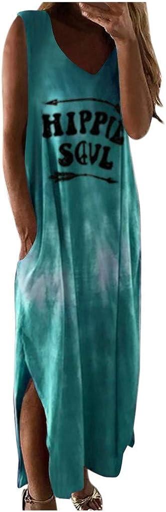 GCETTIC Dresses for Women,Women Casual Summer Tie Dye Letter Printed Maxi Dress Sleeveless Beach Party Tank Long Dress