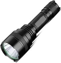 مصباح يدوي ZHIC مصباح يدوي قوي ذو مدى طويل ومصباح يدوي تكتيكي وقابل لإعادة الشحن في حالات الطوارئ في الهواء الطلق ضوء أسود مذاق جيد، حياة جيدة