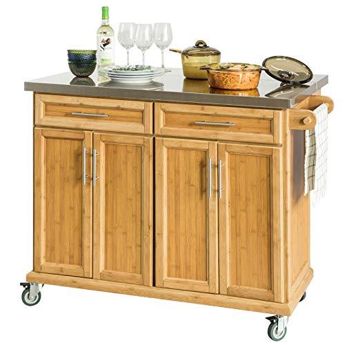SoBuy FKW69-N,Carrito de Cocina con Piso de Acero,con Tablero Extensible, Carrito de Servir de bambu,L115 x P46 x H92cm,ES