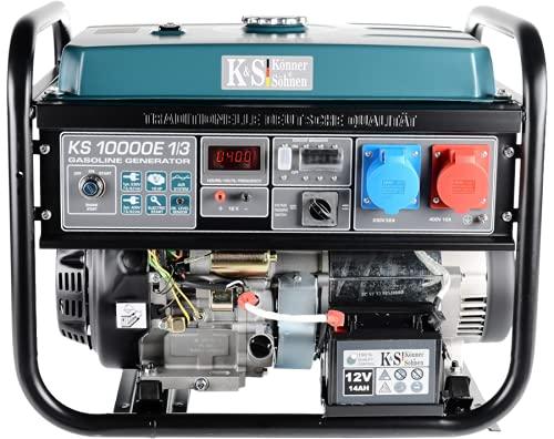 Könner & Söhnen KS 10000E-1/3 - Power Generator 18 HP, 4-Stroke Petrol Engine mit E-Start, VTS System, Automatic Voltage Regulator, 1x16A (400V), 1x32A (230V) Generator for Home or Commercial Use