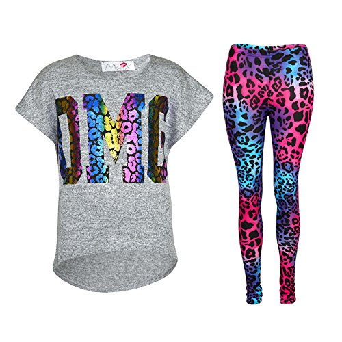 Kids Girls OMG Print T Shirt Top & Wet Look Leopard Legging Outfit Set 7-13 Yrs