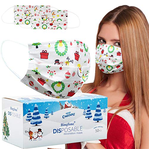 Christmas face Masks for Women Disposable - 50 pcs Christmas mask for Adult Christmas Masks for Man with Nose Clip and Ear Loops