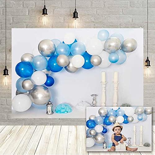 Background Photography Boy Blue White Balloons Birthday Backdrop Candlestick Kids Portrait Props Photo Studio Photozone-300X250CM