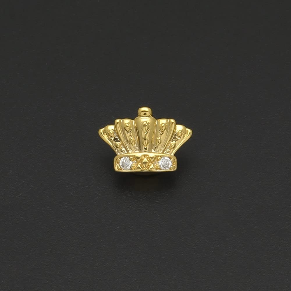 YFYUNDING European and American Crown Shape Diamond Gold Single Braces Hip Hop Teeth Trendy Cool Jewelry Braces Jewelry (Color : Gold)
