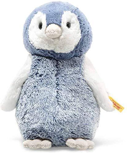 """Steiff 63930 Original Plüschtier Pinguin Soft Cuddly Friends Paule, Kuscheltier ca. 22 cm, Markenplüsch Knopf im Ohr"""", Schmusefreund für Babys von Geburt an, blau, weiß"""