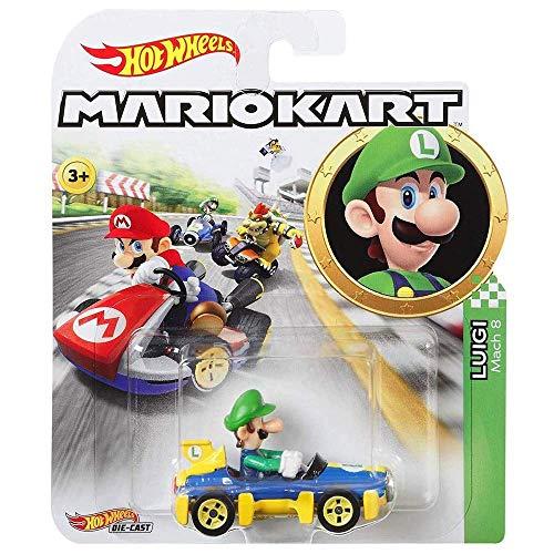 Hot Wheels Fahrzeuge Luigi - Super Mario Kart Character Car Diecast 1:64 Scale - Neu