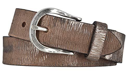 Vanzetti Damen Leder Gürtel Vollrindleder Metallicfinish Damengürtel taupe-copper 30 mm Ledergürtel (105 cm)