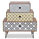 GOTOTOP - Mesillas de noche con 3 cajones, mesa de noche de estilo moderno, mesa auxiliar de madera con patas de acero, mueble de almacenamiento para dormitorio, salón, pasillo, oficina, marrón