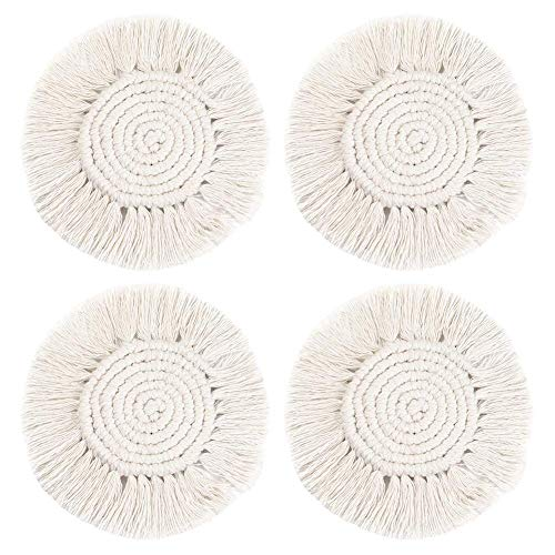 Gracelife Coasters Set 4 Pack Coffee Drinks Absorbent Cotton Woven Handmade Macrame Bar Coasters Tassels Home Artistic Aromatherapy Mat Vase Décor Dining Heat Protection Round Solid Pattern
