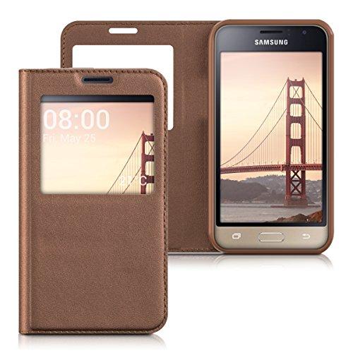 kwmobile Funda Compatible con Samsung Galaxy J1 (2016) - Carcasa de Cuero sintético con Ventana - Case en Cobre