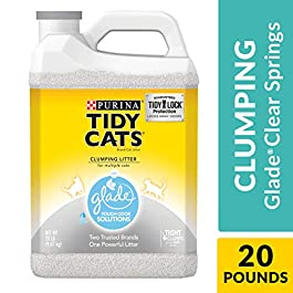 Purina Tidy Cats Clumping Cat Litter, Glade Clear Springs Multi Cat Litter – (2) 20 lb. Jugs