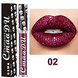 8 Farben Lipgloss Huihong CmaaDu Nude Metallic Matt Samt Glänzend Lipgloss Lippenstift Lippencreme (Sexy-02)