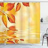 ABAKUHAUS Naranja Cortina de Baño, Sun Hojas Ver, Material Resistente al Agua Durable Estampa Digital, 175 x 200 cm, Tierra del Amarillo Anaranjado