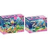 PLAYMOBIL 70094 Magic Cala de Sirenas con Cúpula Iluminada, A Partir de 4 años, Multicolor + 70100Magic Familia con Conchas Cochecito, Multicolor