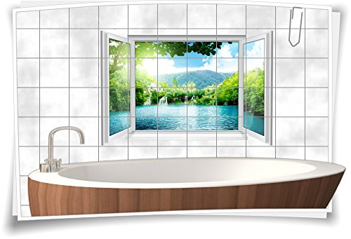 Medianlux Fliesenaufkleber Fliesenbild Fliesen See Wasserfall Insel Aufkleber Bad Deko WC Badezimmer Dekoration, 90x60cm, 15x15cm (BxH)