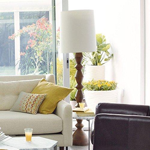 XIN Home staande lamp, vloerstaande lezing, Amerikaanse landelijke creatieve staande lamp eenvoudige slaapkamer moderne massief houten sculptuur lampenkap decoratieve lampen oogbescherming verticale tafella