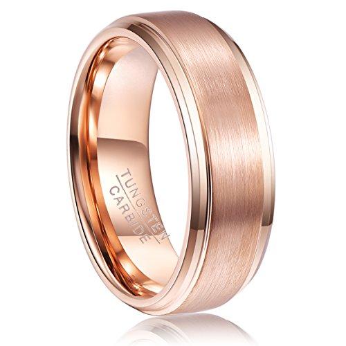 NUNCAD Ring Damen rosengold galvanisiert, gebürstete Oberfläche, 8mm breit bequem, Hochzeitsring Verlobungsring, Größe 67