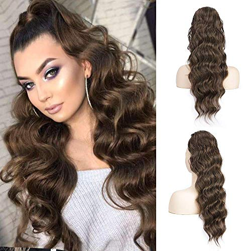 Long Wavy Drawstring Ponytail Extension Body Wavy Ponytail Synthetic Heat Resistant Hairpiece for Women (8/31)