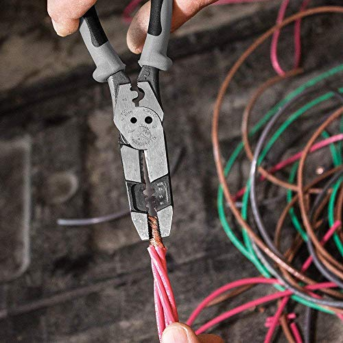 Klein Tools J215-8CR Multitool Pliers, Hybrid Multi Purpose Tool / Crimper, Wire Stripper, Bolt Shearing, Wire Grabbing, Twisting, Looping
