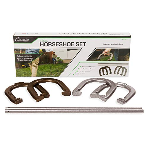 Champion Sports IHS20 Classic Horseshoe Set, Four Professional Solid Steel Horseshoes with Solid Steel Stakes & Carrying Storage Bag