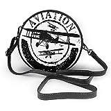 TURFED PU rond sac à bandoulière mignon Vintage avion Grunge Style timbre Design avec Word Aviation et avion Silhouettes et sac à bandoulière