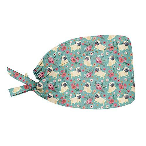 UOIMAG Niedlicher Mops-/Blumenmütze, Polyester, verstellbar, mit Schweißband, weich, elastisch, Bouffant, Turban-Kappe