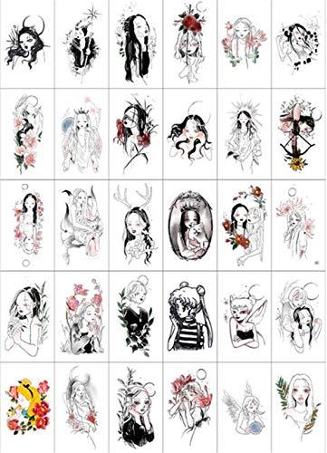 [フ二ンー] タトゥーシール 美人 女性 暗黒系 傷跡隠しデザイン 大人向け アクセサリー 防水 持ち 可愛い ステッカー 腕、足、体、胸、肩、背中30枚セット