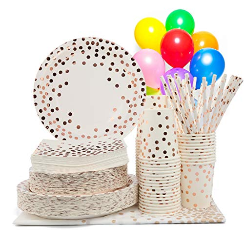 YKB Rose Gold and Gold Party Supplies-50 Disposable Rose Gold Paper Plates Party Dinnerware Utensils Sets Decorations for Birthday/Party/Wedding/Baby Shower