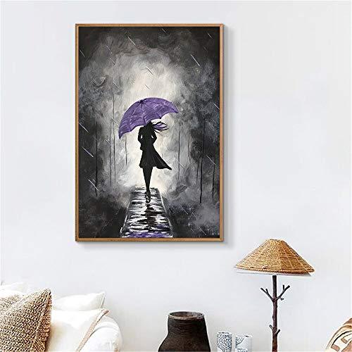 Mädchen malerei Poster leinwand schwarz und weiß wandkunst Bild Dekoration Nordic Mason abstrakte Kunst Badezimmer Dekoration rahmenlose malerei 50X75 cm
