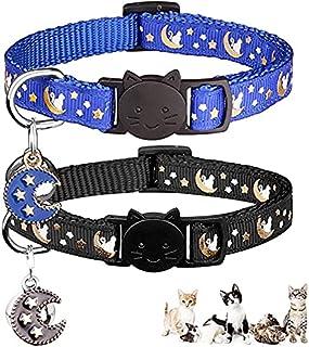 HALAMODO 2PCS Breakaway Cats Collars with Bell Moons Stars Adjustable Kitten Collars with Pendant Glow in The Dark