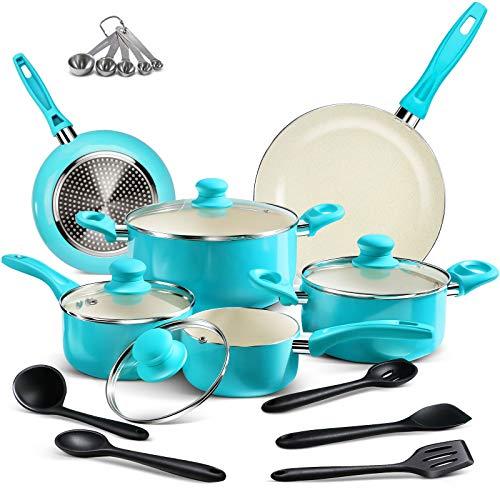MASTERTOP 20 Piece Cookware Set - Ceramic Nonstick Pots & Pans, Cookware Sets Dishwasher Safe, Stay Cool Handle, Non Stick Soup Pot, Milk Pot and Pans, Spoons, Microfiber Rags,Tiffany Blue