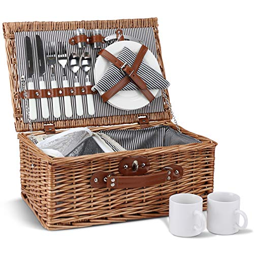 Picnic Basket for 2, Willow Hamper Set with Insulated Compartment, Handmade Large Wicker Picnic Basket Set with Utensils Cutlery - Perfect for Picnicking, Camping, or any Other Outdoor