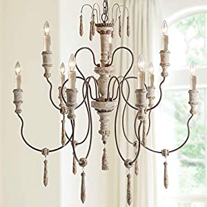 """LALUZ Farmhouse Wood Chandeliers for Dining Rooms, 9-Light Distressed French Country Lighting, D39""""H38"""""""