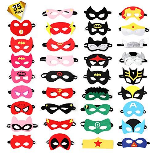 Ucradle Superheld Masken, Superhelden Party Masken, 35 Stücke Superhero Party Cosplay Filz Augen Halbmasken mit Elastischen, Kindergeburtstag Maskerade Karneval für Kinder und Erwachsene