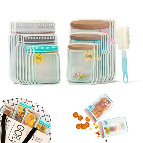 HLeoz 20pcs Mason Jar Ziplock Bags Storage for Food Snack Sandwich Reusable Airtight Seal Food Bag Leak Proof Food Saver Bag for Travel Camping and Kid Mason Jar Zipper Bag with a Cleaning Brush