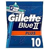 Gillette Blue II Plus Rasoirs Jetables Homme, Pack de 10 Rasoirs [OFFICIEL]