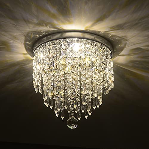 Depuley Lámpara de araña moderna de cristal con diseño elegante, lámpara de techo de cristal, ancho 25 x altura 24 cm, 3 portalámparas para pasillo, salón, dormitorio, comedor, hotel.
