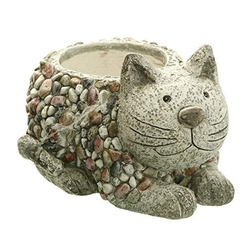 Dio Pflanztopf Katze Stein Mosaik 29x21,5 cm Pflanzgefäß Kübel Gartendeko Blumentopf