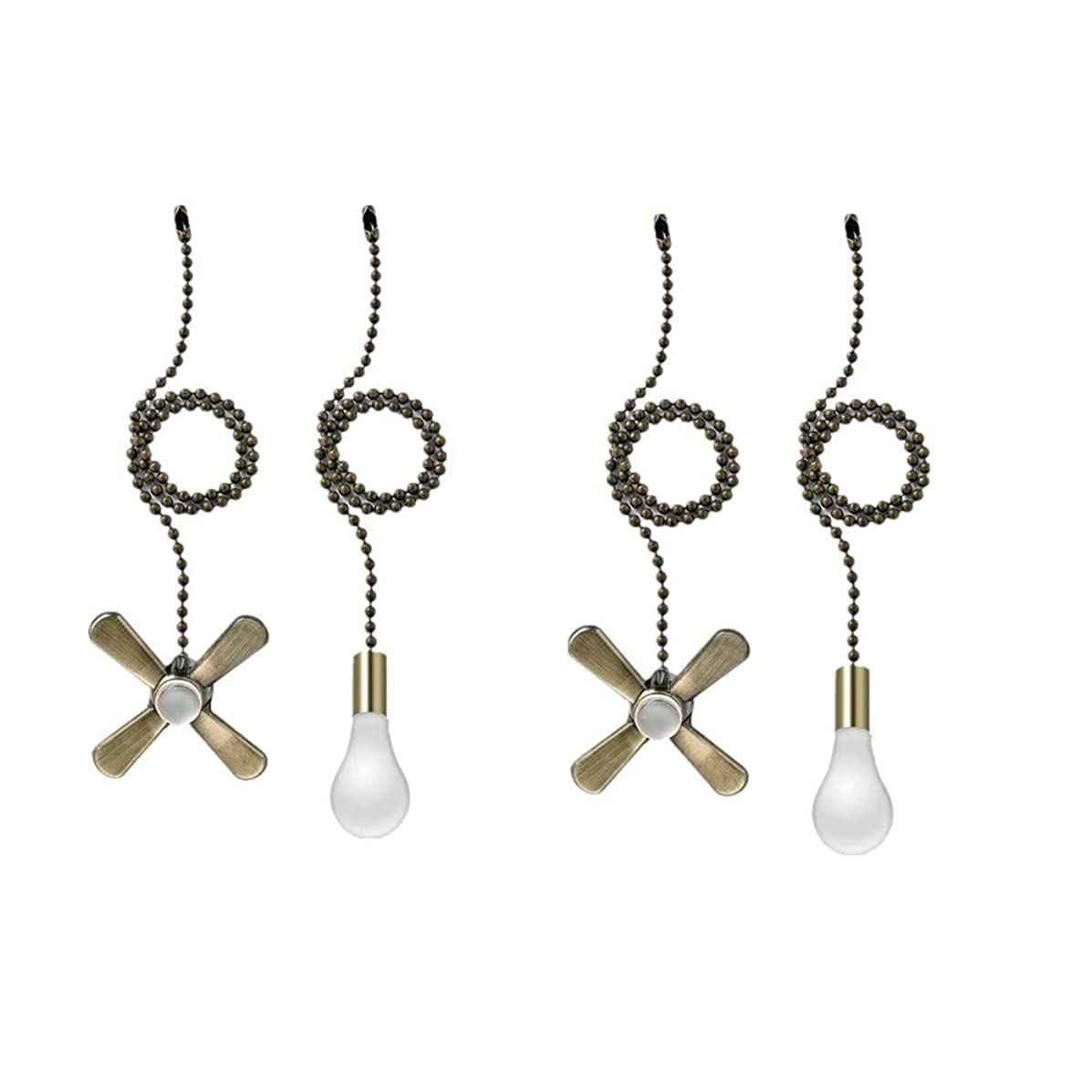 Ceiling Fan Pull Chain, 13.6 Inches Fan Pulls Set with Connector(2 Pack, Bronze)